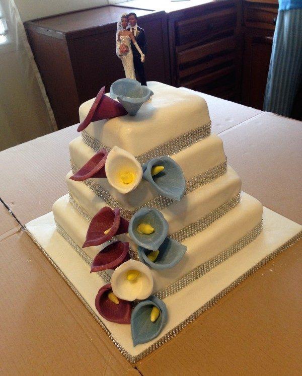 4 tier calla lillies wedding cake
